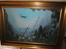 Open Shipwreck oil painting by  Pavan 1920s antique  galleon beauty w diver-NICE