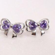 Big Girl Fashion White Gold Plated Lilac Purple Bow CZ Cubic Stud Earrings