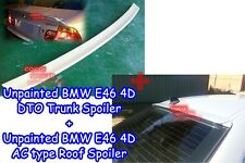 Combo Unpainted BMW 99-04 E46 3-series 4D Sedan DTO trunk +AC type roof spoiler◎