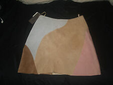 size 4 Leather Suede Multi Color NWT Skirt 70s Style Mod GoGo Disco Mini VTG