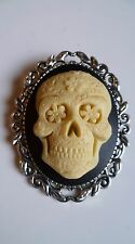 Day of The Dead Sugar Skull Cameo Brooch Gothic Steampunk Halloween