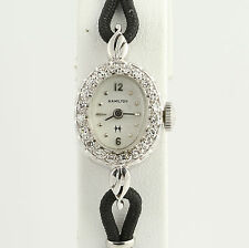 "Hamilton Diamond Wristwatch 7"" - 14k White Gold Mechanical .27ctw"