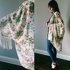 Vintage Floral Oversized Kimono Rose Fringe 70s Hippie Duster Jacket Free People