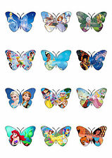 Mixed Princess Butterfly Shaped Edible Wafer Paper Cupcake Cake Toppers -Frozen