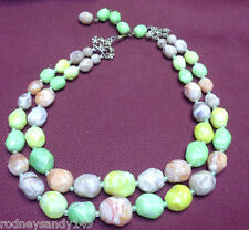 Beautiful Vintage CORO Multi Colored Beads Necklace Jewelry IOB