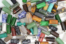 Wholesale Lot 10X Square Bulk Natural Gemstone Silver Plated Beads Pendant FREE