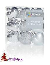 Christmas Tree Decoration - 40mm Silver Heart Baubles - 9 Shatterproof Baubles
