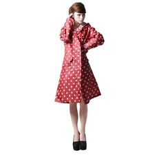 Women Girls Waterproof Outdoor Travel Riding Clothes Dot Raincoat Red Fine