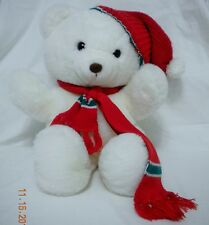 D.H. Holmes Christmas Bear White with Red Scarf & Hat