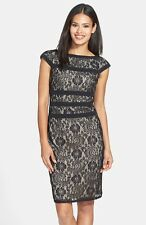 NEW Adrianna Papell/ BLACK/Nude liner/ 14/ Lace Sheath Cap Sleeves Dress $189