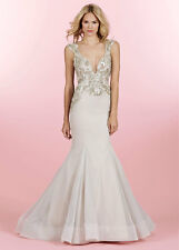 Hayley Paige sz 10 6463 Sasha Cashmere Ivory Tulle Fitted Wedding Bridal Gown