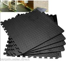 EVA BLACK INTERLOCKING 4 PIECE GYM GARAGE FLOOR PLAY MATS COVER 16SQ FT