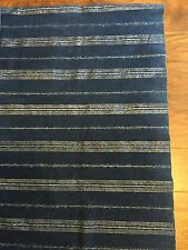 Vintage Guatemala Indigo Fabric With Metallic Silver Stripes