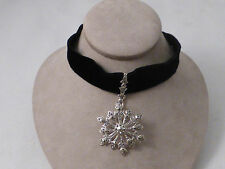 Sterling & Marcasite Snowflake with Black Velvet Choker - 11""