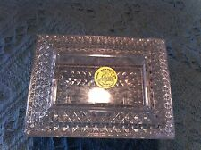 NEW AVON LEAD CRYSTAL D'ARQUES FRANCE SQUARE LIDDED TRINKET BOX