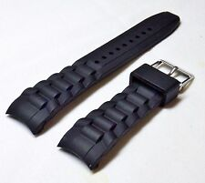 22 MM CURVED END DIVER BLACK SILICONE RUBBER SPORTS WATCH BAND / STRAP  * NEW *