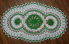 TAMS OVAL DOILY~KELLY GREEN WHITE~APPROX 13 x 22  INCHES~BIG~CROCHET~PINEAPPLE