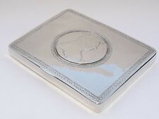 SPLENDID ANTIQUE SOLID SILVER BOX CASE WITH INSERTED MARIE TERESA COIN c1890