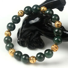 Natural Grade A Jade (jadeite) 10mm Oil-Green Bead Bracelet Blessing