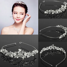 Twinkling Pearl Crystal Crown Headband Tiara Flower Bridal Wedding Party Jewelry