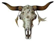 Uhr Dekoration Dekorationsuhr Büffelschädel Wanduhr Indian Skull, 46x30x5cm