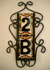 2 Mexican BLACK House Numbers Tiles with VERTICAL Iron Frame