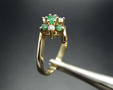 14k Gold Emerald & Diamond Flower Bypass Ring 3.8gr