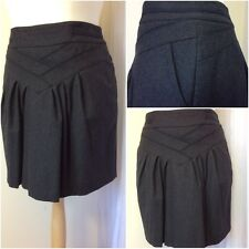 Next Ladies Grey Flannel Wool A-line Short Dirndle Tulip  Business Skirt UK 16