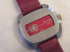VINTAGE LUCERNE JUMP HOUR  DIGITAL WRISTWATCH WITH RED DIAL AND BAND