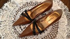 Dolce & Gabbana - Brown Leather Pointy Toes with Black Strap Accents