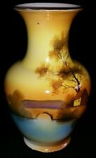 NORITAKE HAND PAINTED TREE IN THE MEADOW LARGE BULBOUS VASE MORIMURA BROS