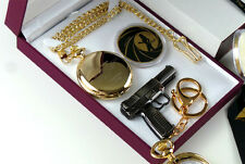 24k Gold Clad JAMES BOND 007 Pocket Watch Coin and Keyring Luxury Gift Set Boxed