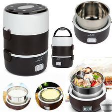 L Electric 3 Layers Portable Lunch Box Mini Rice Cooker Steamer Stainless Steel