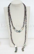 """length 52"""" 8mm Baroque black pearls Abalone shell necklace j11658"""