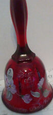 RED FENTON BELL HAND PAINTED FLOWERS BEST OF BREED