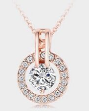 Fashion Women 18K Rose Gold Plated Rhinestone Crystal Round Pendant Necklace