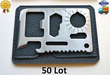 50 Lot 11 in 1 Multi Tool, pocket wallet thin survival outdoor credit card knife
