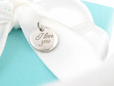 New Tiffany & Co Silver Circle I Love You Charm 4 Necklace Bracelet Box Included
