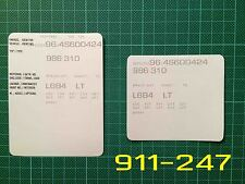 Porsche Boxster Style 2 VIN Data Bonnet Hood Maintenance Book Labels Stickers
