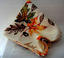 """Dinner Napkins Packaged Set of Four Cream Olive Brown Rust Leaves 18"""" x 18"""""""