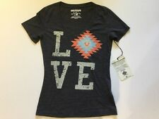 TRUE RELIGION WOMEN AZTEC LOVER V-NECK GRAPHIC T-SHIRT CHARCOAL NWT XL $79