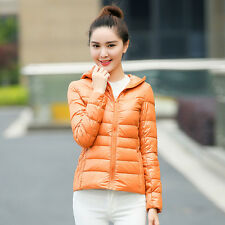Womens Lady Duck Down Ultralight Hooded Puffer Jacket Coat Outdoor Packable
