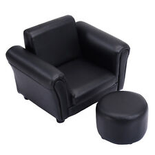 Kids Sofa Armrest Chair Couch Children Toddler Birthday Gift w/ Ottoman Black
