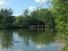 secluded scenic 2 acre carp fishing lake, log cabin short break holiday glamping