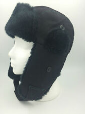 BOYS BLACK FLYING HAT FAUX FUR TRIM SIZE 56CM BNWOT 0566
