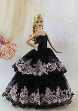 Schwarz Fashionistas Kleidung Prinzessinnen Kleider Für Barbie Puppe AK01D