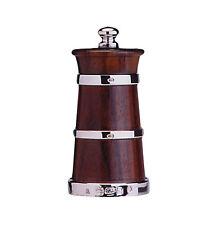 & argent solide en bois de rose moulin poivre / moulin à poivre (bidon de forme)