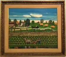 PEARL BERNARD 20th c. California Artist PRIMITIVE STYLE FOLK ART PAINTING