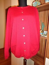 GUDRUN SJODEN RED WOOL KNITTED RELAXED CARDIGAN WITH POCKETS-XL,16-UK