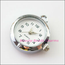 1Pc Dull Silver Plated Copper Round Pocket Watch Face Charms 24.5x25.5mm